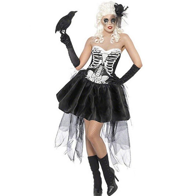 new Scary Skeleton Ghost Bride Cosplay Dress black devil Vampire bloody Skull Zombie Costume Halloween Horror Costumes For Women