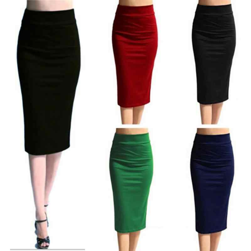 db7d3757be Women Sexy High Waist Pencil Skirts Fashion Wild Slim Solid Color Office  Ladies OL Pencil Skirts