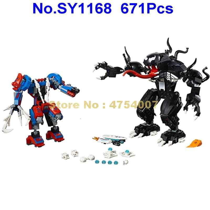 Sy1168 671 pçs super heróis homem aranha vs venom 4 figuras blocos de construção 76115 brinquedo