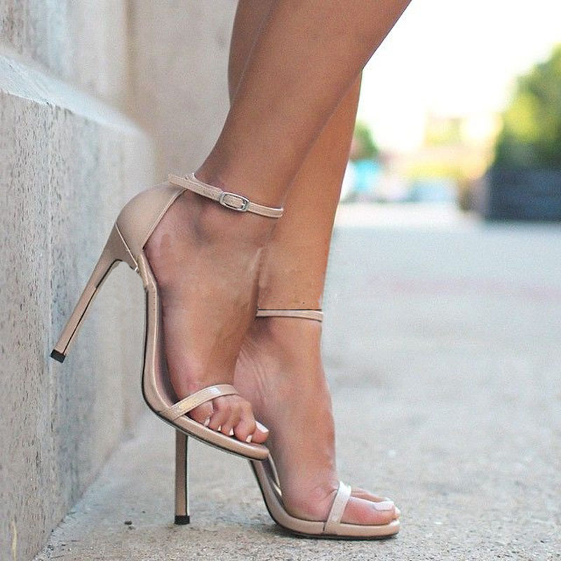 2017 Fashion Trend Wedding Party Dress Shoes Women Stiletto Heel Buckle Detail Summer Sandals Solid Color Ankle Strap Sandals 2017 fashion stiletto heel sandal army green cross weaving sandals wedding party dress shoes women wholesale drop shipping