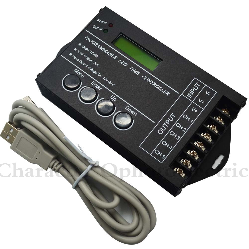 5PCS TC420 Time programmable RGB LED Controller DC12V-24V 5Channel Timing dimmer Total Output 20A Common Anode with USB Wire