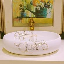 Oval Europe Style Handmade Countertop Ceramic Wash Basin Bathroom Basin  Bathroom Sink Porcelain Oval Decorative Bathroom Sink