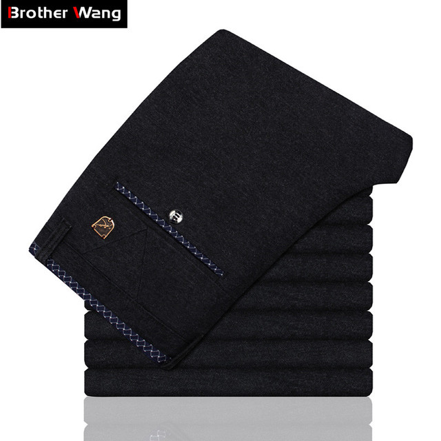 Brand Clothes Men's Casual Pants 2019 Spring New Sanding Elasticity Slim Fit Male Pants Skinny Trousers Black Blue