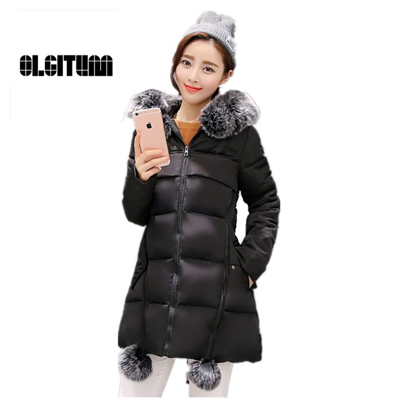 ФОТО Coats Thick Ladies Down Winter  Parkas Slim was thin  Padded long section Fur Collar Women Jackets Tops