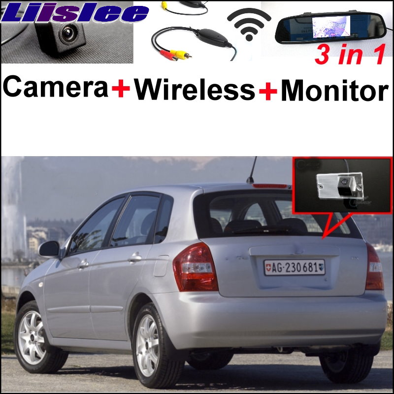 Liislee 3 in1 Special Camera + Wireless Receiver + Mirror Monitor Easy Parking System For KIA Cerato Sephia Hatchback 2003~2009 wireless pager system 433 92mhz wireless restaurant table buzzer with monitor and watch receiver 3 display 42 call button