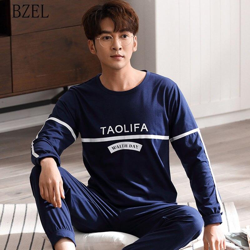 BZEL Pajamas Sets Male Two-piece Cotton Pijama Long Sleeve Sleepwear Home Suit Pyjama Round Neck Homewear Casual Spring&autumn