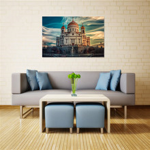 Cathedral of Christ Modern Home Decoration Painting The Savior Russia Moscow City Landscape Posters and Prints Wall Art Picture(China)