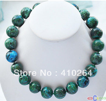"$wholesale_jewelry_wig$ Free Shipping 18"" 14mm Nature Round Green Malachite Bead Necklace Skillful Manufacture"