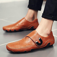Brand Soft Genuine Leather Loafers Men Causal Boat Shoes Moccasins Designer Sneakers Flats Slip On Male Shoes Adult Footwear