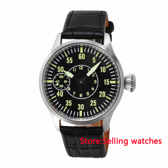 parnis 44mm Sapphire Glass Black Dial Luminous Hand Winding 6497 men s watch