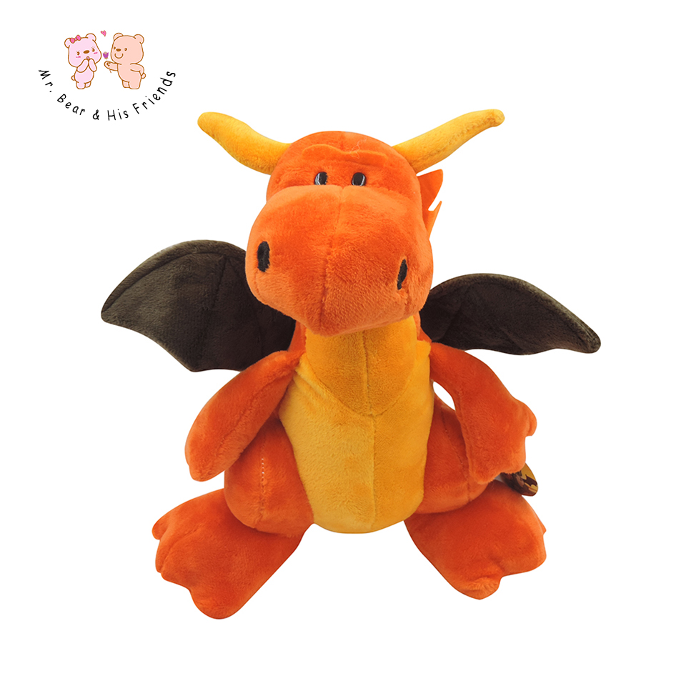 Big Cute Cartoon animals Plush Toys Winged Dragon doll stuffed Orange plush with wings 14.17'' kid toys Keepsake Christmas Gifts thick hooded down jacket women slim print long winter coat camouflage y160