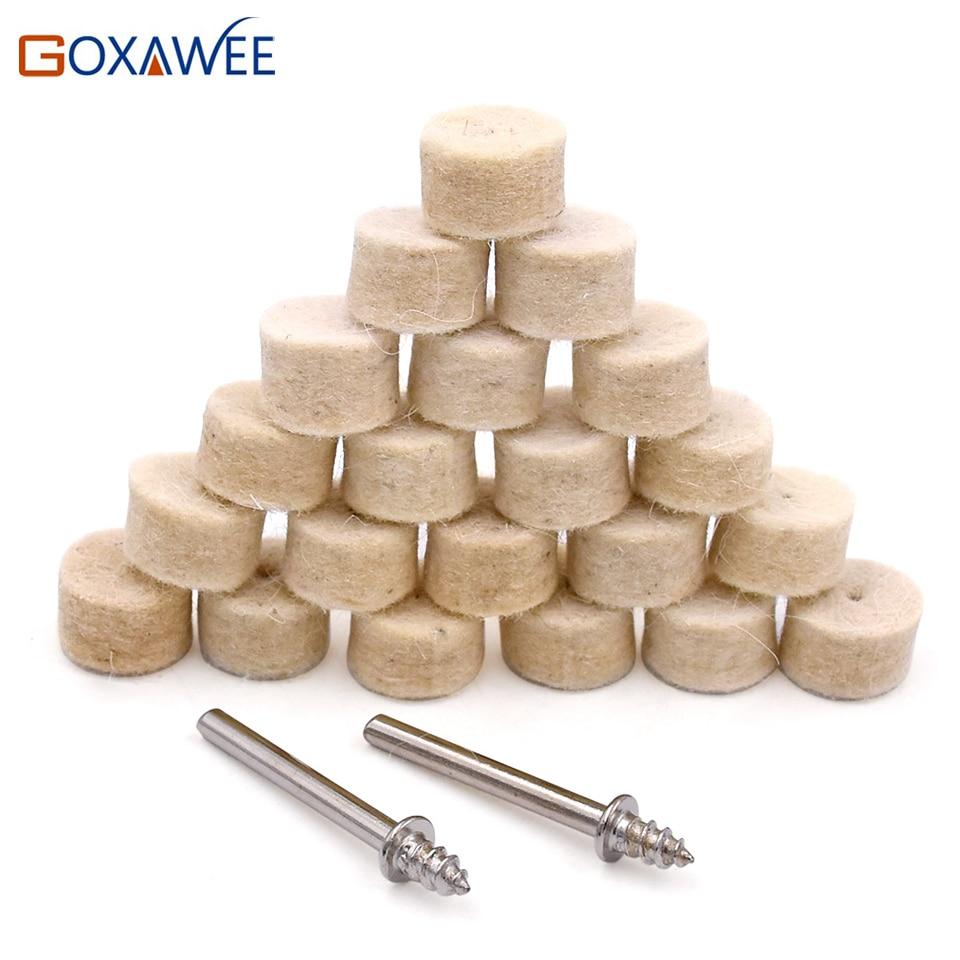 """50pcs 1 """"almohadillas de ruedas de pulido de lana de fieltro con vástago de mandril de 3 mm 3 piezas para herramientas rotativas Dremel Mini herramientas de taladro eléctrico"""