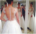 2015 see-through backless long sleeve bridal Dresses Court Train Appliques A-line Weedding Dresses