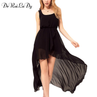 YI NOKI Chiffon Women Dress Sexy Irregular Dresses Plus Size Fashion Black Dovetail Mixi Dress Round