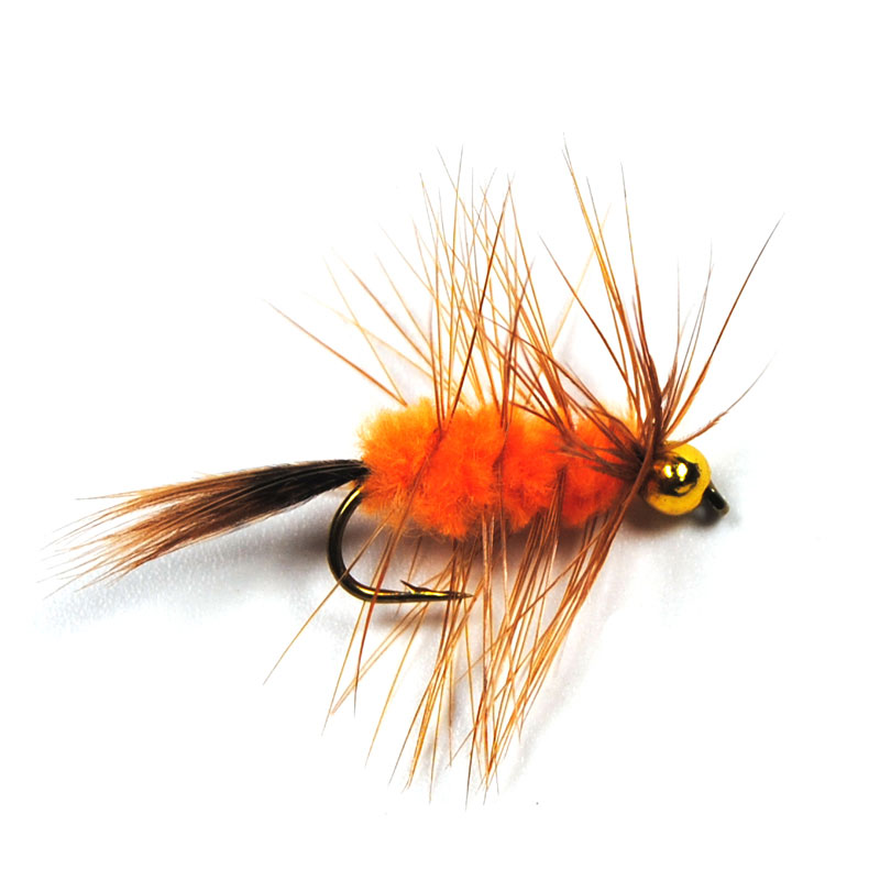 6PCS 10# Bead Head Brown Hackle Orange Wooly Worm Bug Fly Trout Fishing Flies