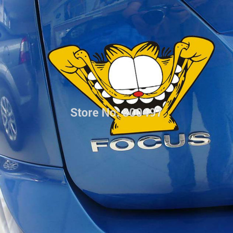 Car Styling Funny Garfield Car Stickers Cat Design Decal Motorcycle Decoration for Tesla Ford Chevrolet Volkswagen Hyundai Lada