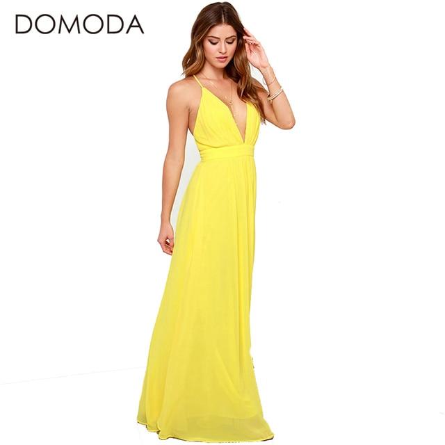 008fe4572614 DOMODA Backless Dresses Women Sexy Deep V Neck Cross Back High-waist Solid  Yellow Maxi Dress Long Chiffon Vestidos Female