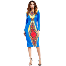 2019 Autumn Hot  Sale African Tribal Ethnic  Style Print Dress Round Neck Long Sleeve Slim Bag Hip Dress robe wax africain femme недорого