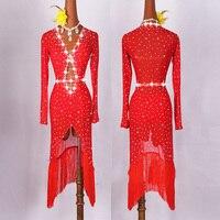 Новое поступление 2018, платье для латинских танцев для женщин, красная черная юбка из конкурентоспособной ткани, сексуальная женская одежда
