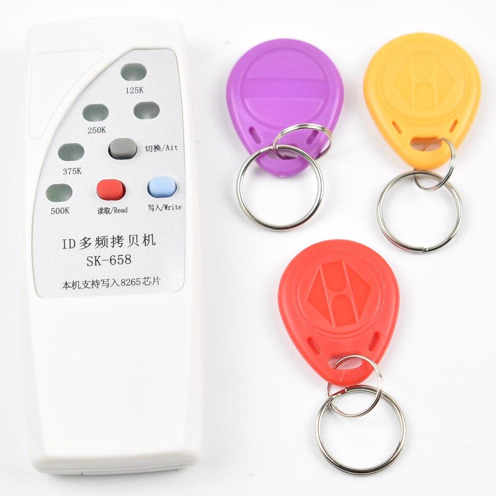 De poche 4 Fréquence 125 khz 250 k 375 k 500 k RFID Copieur/Duplicateur/Cloner ID EM Lecteur & Graveur & 3 pcs EM4305 T5577 Réécrire Tag