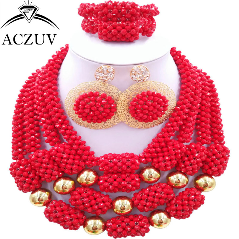 цены ACZUV Latest Nigerian Bridal Jewelry Set Opaque Red African Beads for Nigeria Wedding D4R021