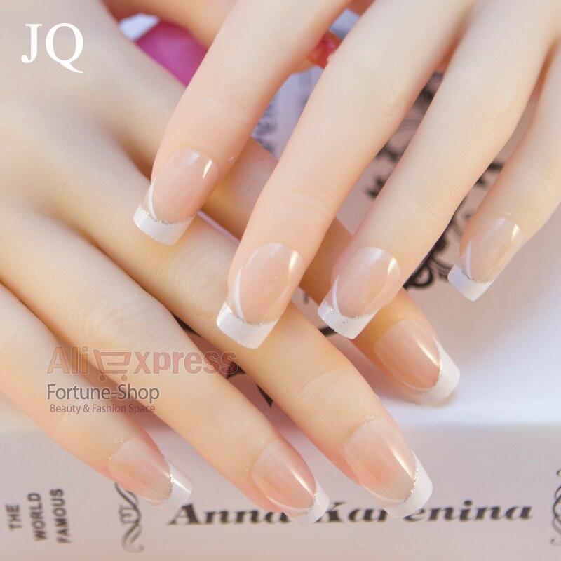 JQ 24pcs/set Acrylic Nails 3d False Nail Full Fake Nail French Nail ...
