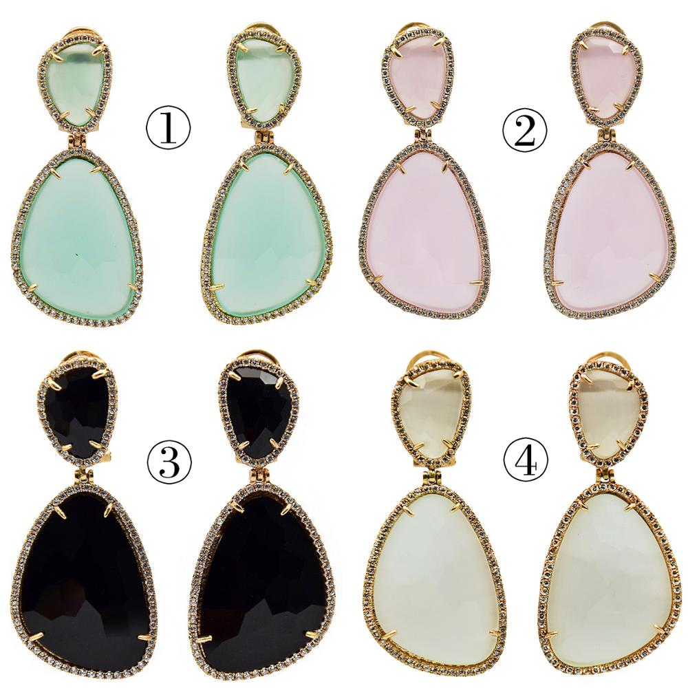 12 styles Gold Metal Cubic Zirconia Statement Luxury Drop Earrings For Women Wedding Jewelry Suitable Party Sending Friends