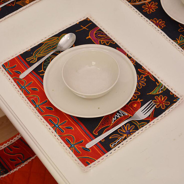 30x40cm Retro Mystery Style Fabric Dining Table Mat Non Slip Restaurant  Placemats Creative Table Mats