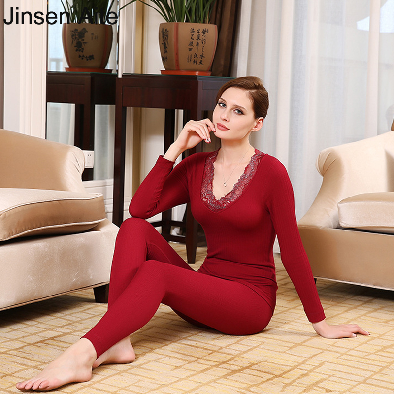 Jinsen Aite Lace Sexy V-Neck Double Thick Warm Thermal Underwear Set Women Plus Velvet Soft Body Winter Female Clothing JS651