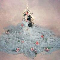 ZTOV Pregnant Maternity Women Fashion Photography Props Romantic Elegant Long Fairy Trailing Dress Photo Shoot Shower