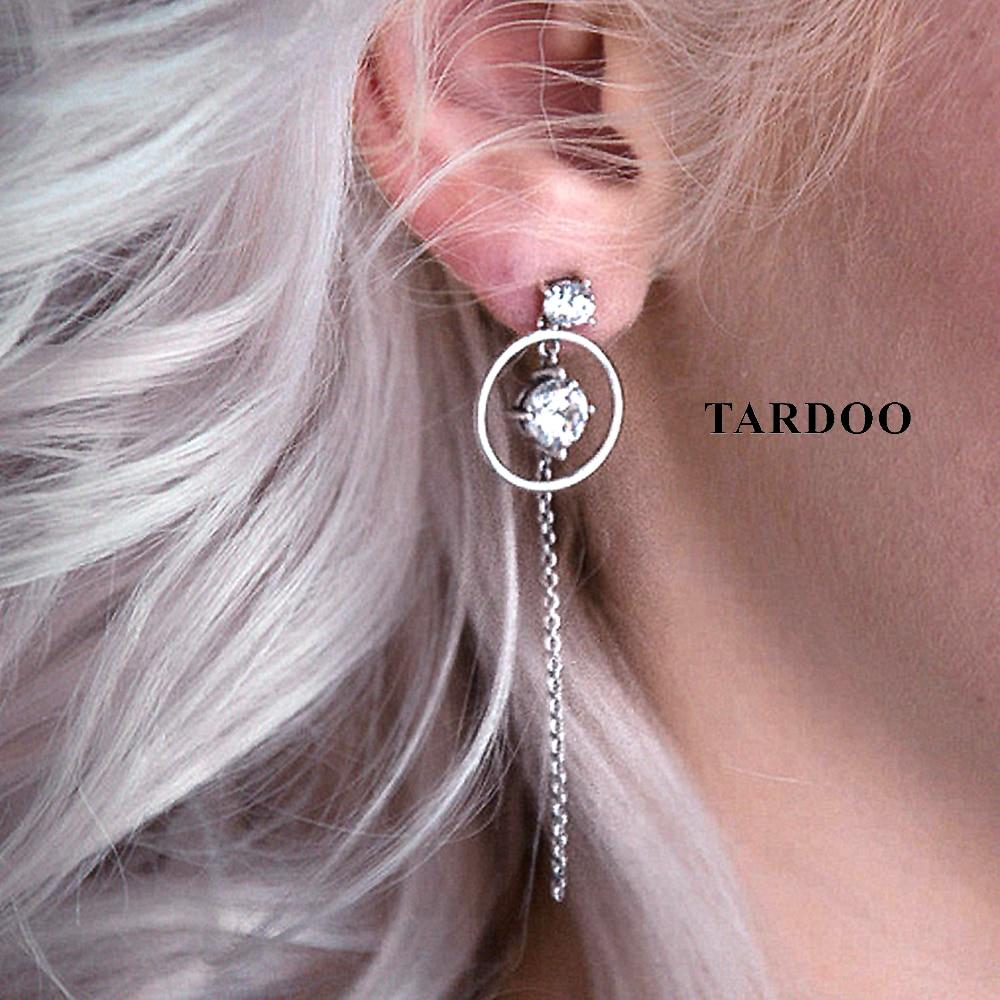 Tardoo 925 Silver Long Chain Dangle Drop Earrings Simple Design Chain Pendant Earrings Geometry Zircon Women Trendy Fine Jewelry long chain enamel bird shape drop earrings