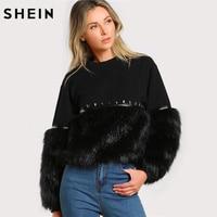 SHEIN Gem Beading Faux Fur Panel Sweatshirt Black Long Sleeved Women S Sweatshirts Fall Winter Casual