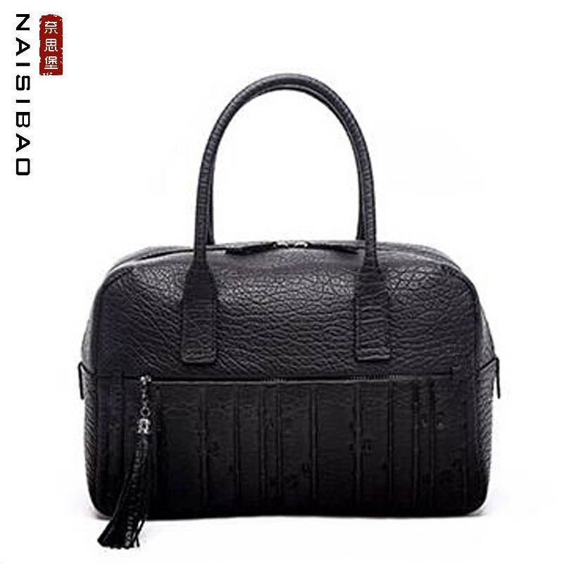 NAISIBAO nouveau sacs à main en cuir véritable haut en peau de vache gaufrage femmes sac en cuir de mode de luxe en cuir sac à bandoulière femmes sac fourre-tout
