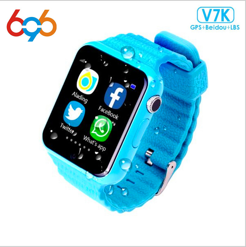 696 Children GPS Tracker Smart Watch V7K With Camera Facebook Kids SOS Emergency Security Anti Lost For Android Watch PK Q50 new a6 smart watch for kids children gift gps tracker with sos button alarm clock gsm phone anti lost for android ios phone