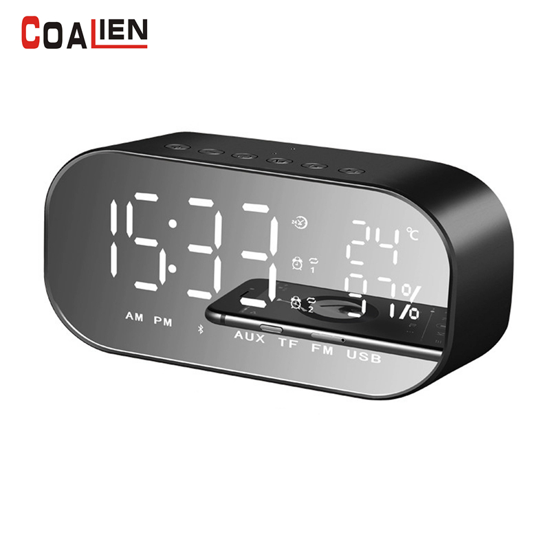 COALIEN 3D Stereo Bluetooth Speaker Wireless Portable Dual Alarm Clock Subwoofer with TF FM Radio Home Theater Player цена