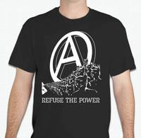 REFUSE THE POWER Anarchist Kitty Anarchy T Shirt Top Quality Cotton Casual Men T Shirts Men