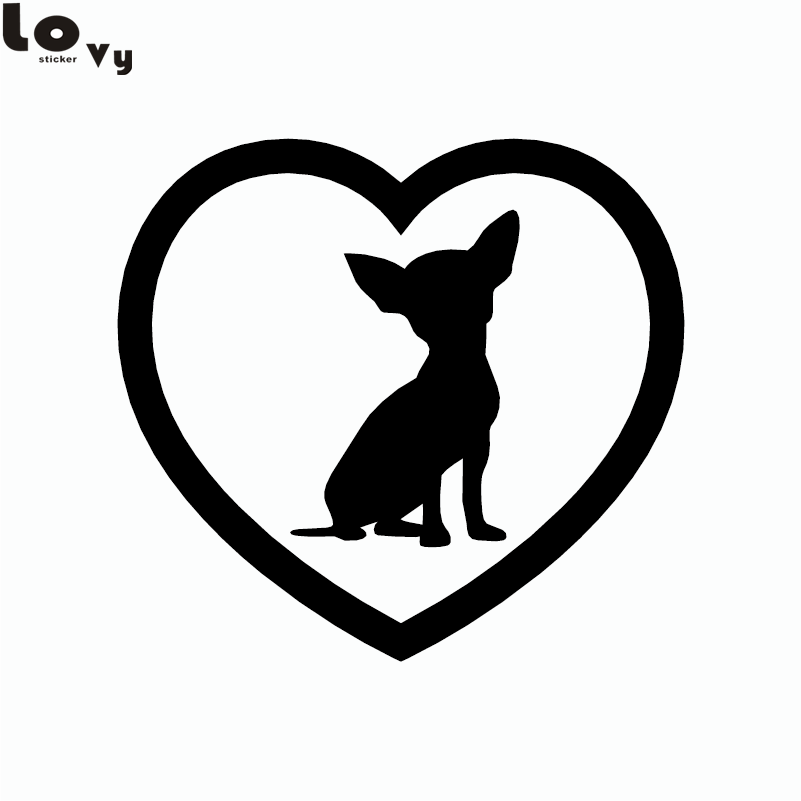 2 piezas Cute Chihuahua Heart Dog Car Sticker Cartoon animal Window Bumper Vinyl Car Decal