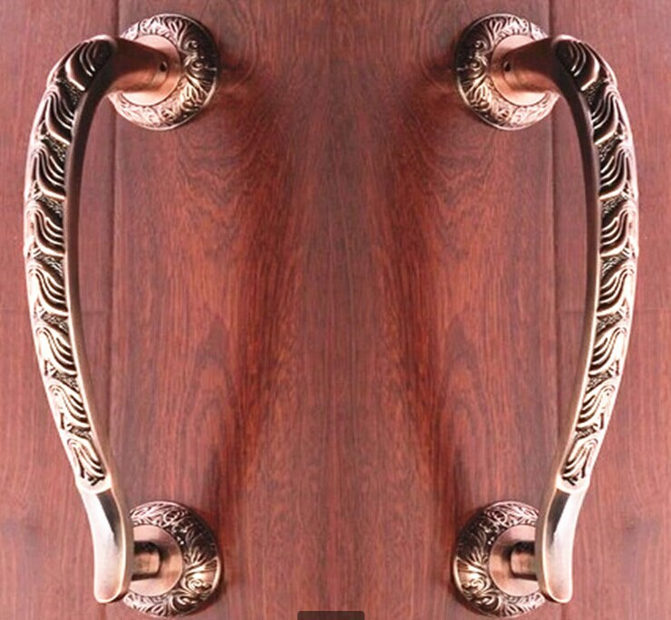 300mm Wooden,Glass Door Pulls Antique High Quality Door Handles Bronze Zinc Alloy Home Ktv Hotel Big Gate Door Pulls Handles 550mm high quality clear crystal glass big gate door handles stainless steel big gate door handle pulls wooden door pulls