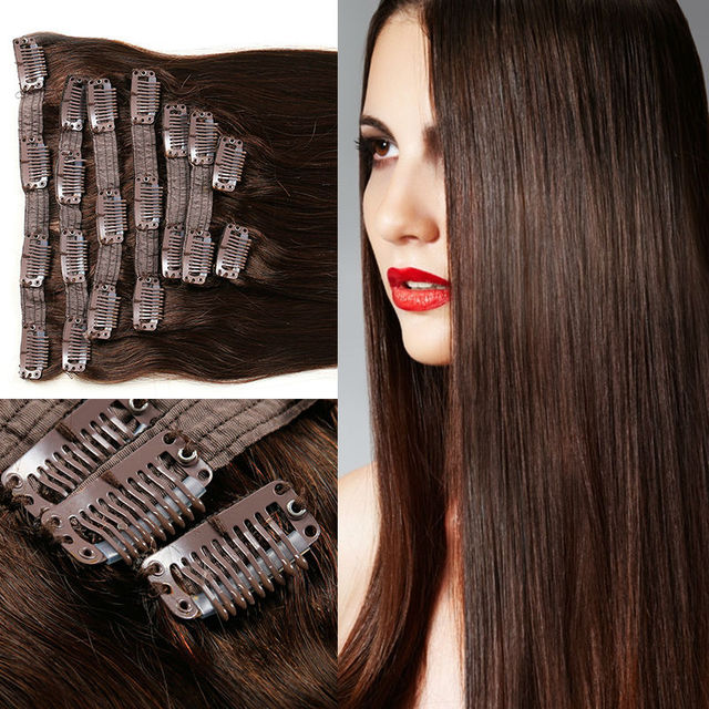 Brasileño de la Virgen Del Pelo Clip En Extensiones de Cabello Humano 120-160g 8 unids/set Remy Extensiones de Cabello Cheveux Ali Belleza Tic Tac Humano