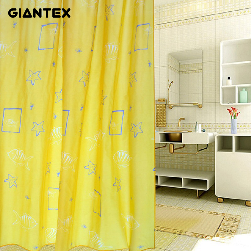 GIANTEX High Quality Polyester Yellow Shell Pattern Bathroom Waterproof Shower Curtains With 12 Hooks U0972