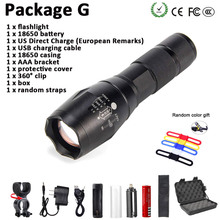 Portable Zoom Flashlight XM-LT6 9000LM 5 Mode LED Torch Hunting Camping Tactical Switch luz glare Set