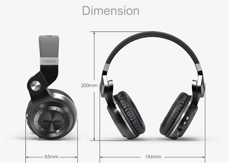 Bluedio T2+ fashionable foldable over the ear bluetooth headphones BT 4.1 support FM radio& SD card functions Music calls (4)