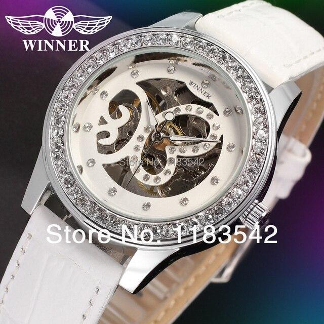 Победитель женские часы Мода Механическая рука-Ветер Скелет Аналоговый Повседневная кристалл запястье цвет белый WRL8009M3S2