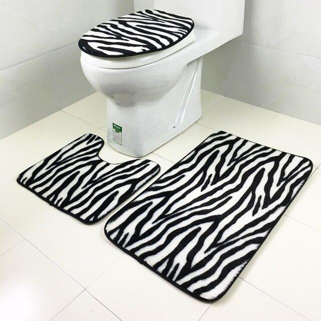 3 stks/set Flanel Zebra patroon antislip Badkamer mat Sets Bad rug ...