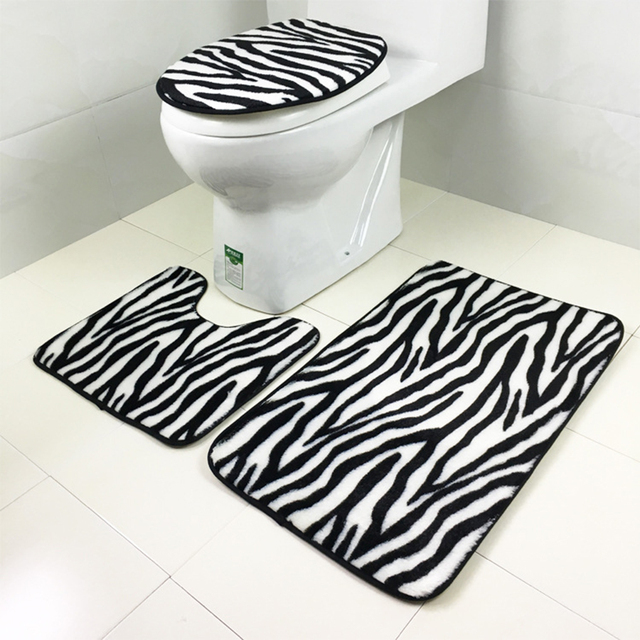 3pcs/set Flannel Zebra Pattern Non Slip Bathroom Mat Sets Bath Rug Contour  Mats