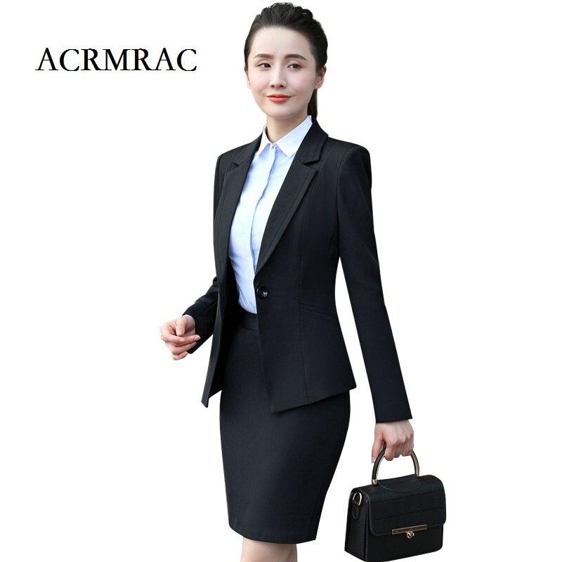 ACRMRAC Women Formal Wear Suit Long Sleeves Solid Color Slim Single Button OL Formal Pant Suits ...