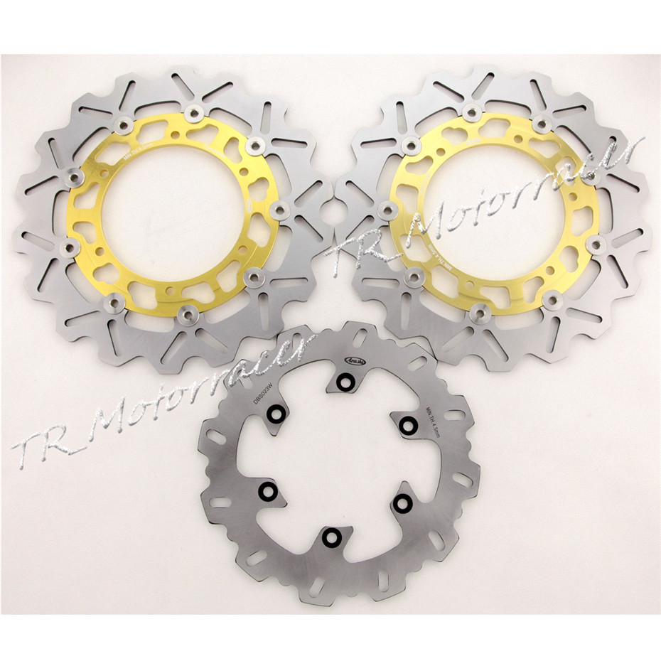 Motorcycle Front & Rear  Brake Disc Rotors Pats For Yamaha YZF R1 1998 1999 2000 2001 2002 2003, Motorbike Accessories Gold ! 1 pcs motorcycle front brake rotor disc stainless steel braking disk for yamaha sr125 sr 125 1997 2002 2001 2000 1999 1998