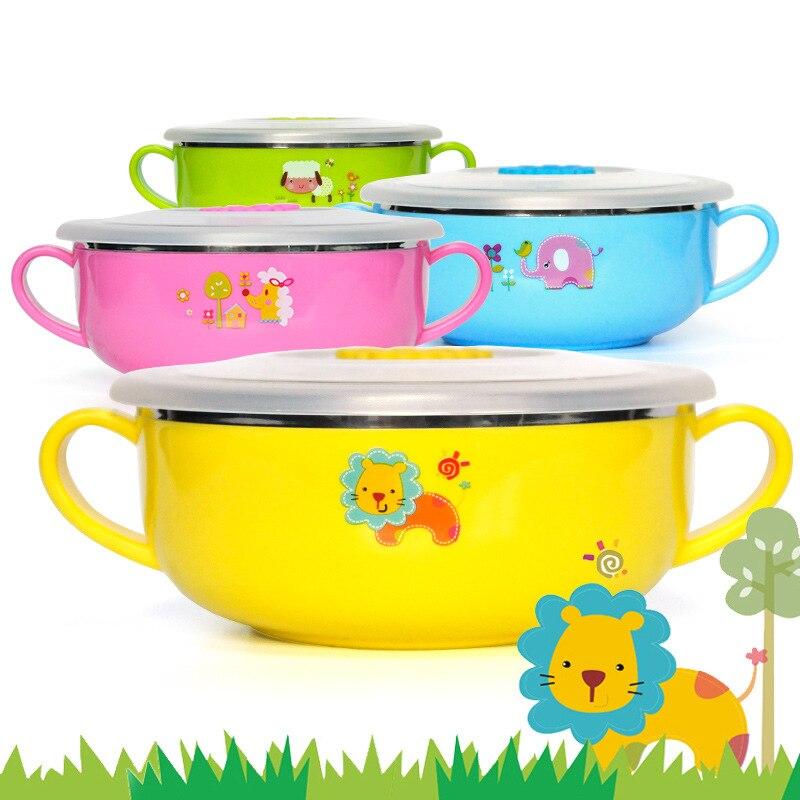 400ml Baby Feeding Bowl Cartoon Heat Preservation Melamine Dinnerware  Stainless Steel Kids Plate Food Pratos Infantis