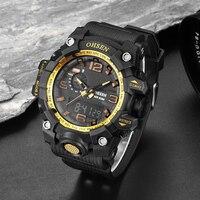למעלה מותג OHSEN ספורט דיגיטלי זכר Mens Watch שעוני יד Hombre 50 m צלילה שעון פופולרי גומי בנד שעון האופנה שעון זהב מתנה