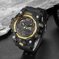 Top Brand OHSEN Digital Sport Male Mens   Watch   Wristwatch Hombre 50m Dive Gold Rubber Band Clock Fashion Popular   Watch   Clock Gift